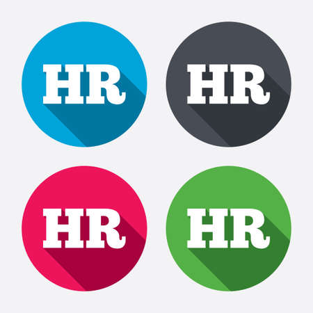 Human resources sign icon. HR symbol. Workforce of business organization. Circle buttons with long shadow. 4 icons set. Vector Ilustração