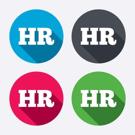 recursos humanos: Recursos humanos firman icono. Símbolo HR. Fuerza Laboral de la organización empresarial. Botones de círculo con larga sombra. 4 iconos conjunto. Vector Vectores