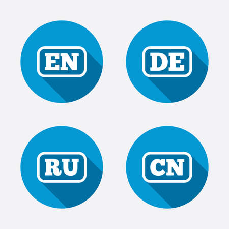 en: Language icons. EN, DE, RU and CN translation symbols. English, German, Russian and Chinese languages. Circle concept web buttons. Vector Illustration
