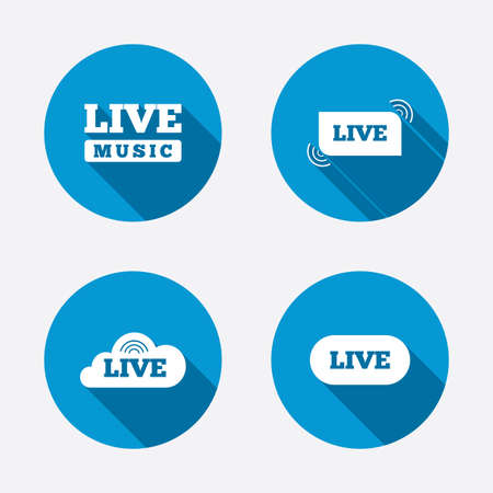 live stream sign: Live music icons. Karaoke or On air stream symbols. Cloud sign. Circle concept web buttons. Vector