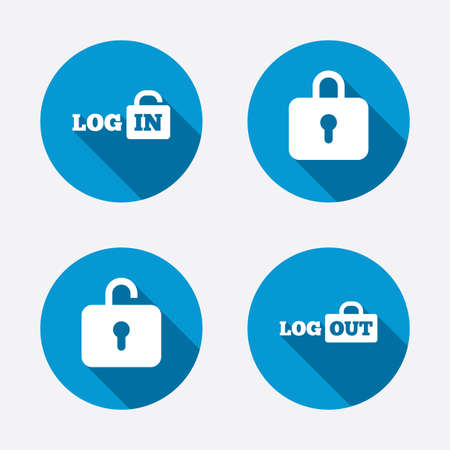 login: Login and Logout icons. Sign in or Sign out symbols. Lock icon. Circle concept web buttons. Vector
