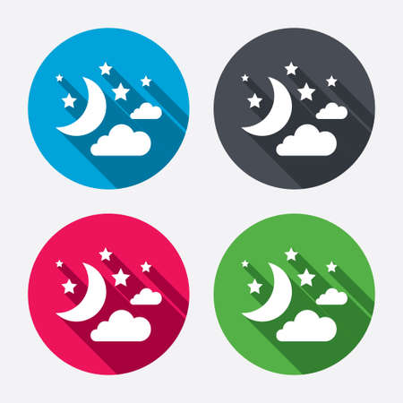 Moon, clouds and stars icon. Sleep dreams symbol. Night or bed time sign. Circle buttons with long shadow. 4 icons set. Vector Vector