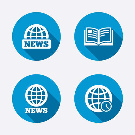News icons. World globe symbols. Open book sign. Education literature. Circle concept web buttons. Vector Vector