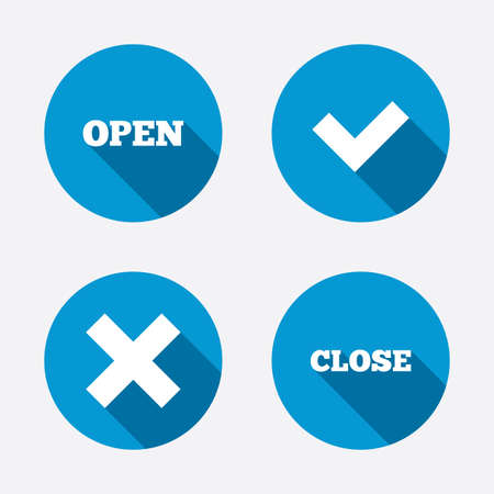 Open and Close icons. Check or Tick. Delete remove signs. Yes correct and cancel symbol. Circle concept web buttons. Vector Vector