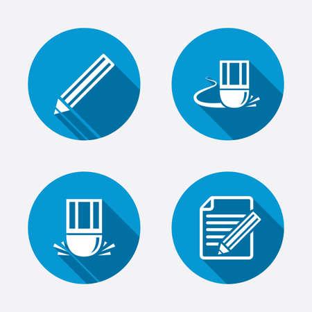 Pencil icon. Edit document file. Eraser sign. Correct drawing symbol. Circle concept web buttons. Vector Vector