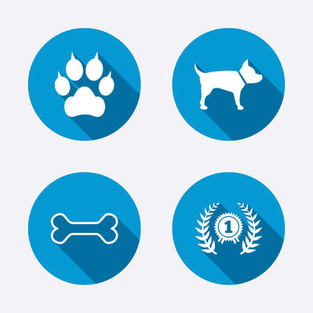 Pets icons. Cat paw with clutches sign. Winner laurel wreath and medal symbol. Pets food. Circle concept web buttons. Vector Vector