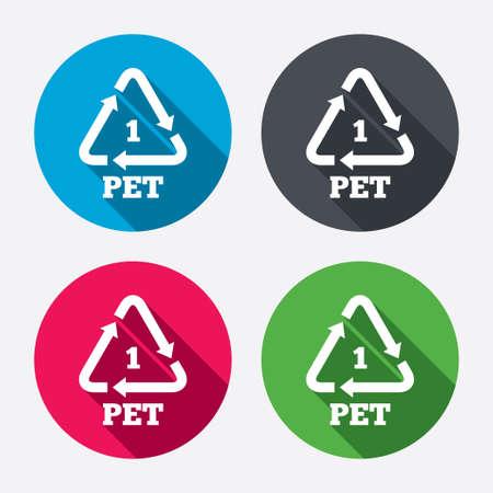 PET 1 icon. Polyethyleentereftalaat teken. Recycling symbool. Flessen verpakking. Cirkel knoppen met lange schaduw. 4 iconen set. Vector
