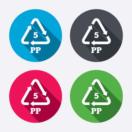 polymer: PP 5 icon. Polypropylene thermoplastic polymer sign. Recycling symbol. Circle buttons with long shadow. 4 icons set. Vector