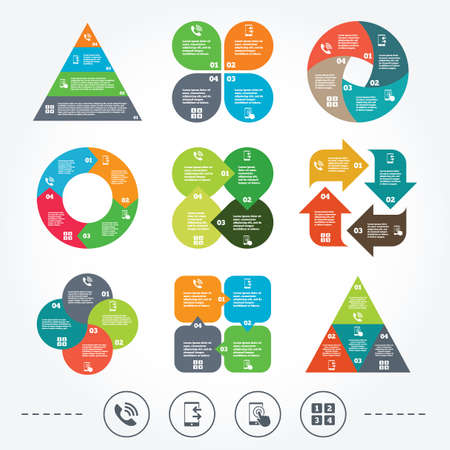 outcoming: Circle and triangle diagram charts. Phone icons. Touch screen smartphone sign. Call center support symbol. Cellphone keyboard symbol. Incoming and outcoming calls. Background with 4 options steps. Vector Illustration