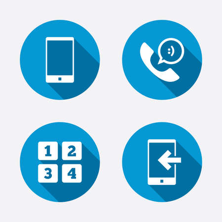 incoming: Phone icons. Smartphone incoming call sign. Call center support symbol. Cellphone keyboard symbol. Circle concept web buttons. Vector
