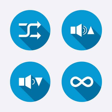 quieter: Player control icons. Sound louder and quieter signs. Dynamic symbol. Shuffle random and repeat loop. Circle concept web buttons. Vector
