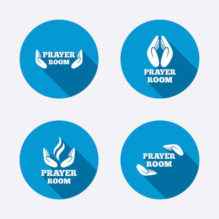 prayer hands: Prayer room icons. Religion priest faith symbols. Pray with hands. Circle concept web buttons. Vector