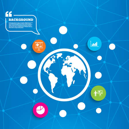demand: Abstract world globe. Diagram graph Pie chart icon. Presentation billboard symbol. Supply and demand. Man standing with pointer. Molecule structure background. Vector