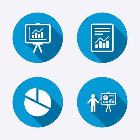 accounting logo: File document with diagram. Pie chart icon. Presentation billboard symbol. Supply and demand. Circle concept web buttons. Vector