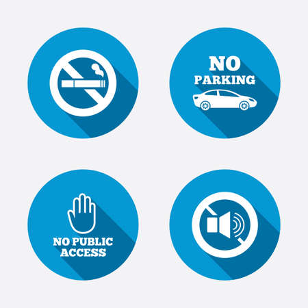 private or public: Stop smoking and no sound signs. Private territory parking or public access. Cigarette and hand symbol. Circle concept web buttons. Vector