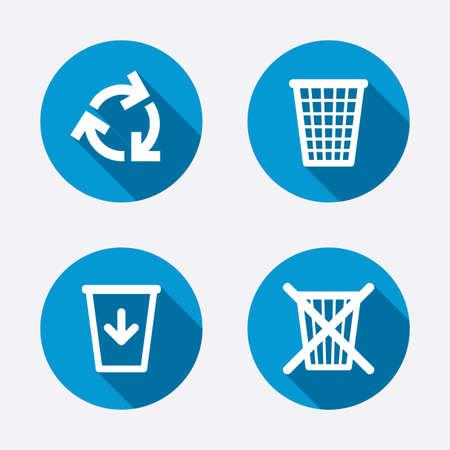reduce reutiliza recicla: Recicle los iconos de basura. Reutilizar o reducir s�mbolos. Bote de basura y reciclaje firma. Botones concepto de web de c�rculo. Vector