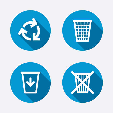 reduce reuse recycle: Recycle bin icons. Reuse or reduce symbols. Trash can and recycling signs. Circle concept web buttons. Vector
