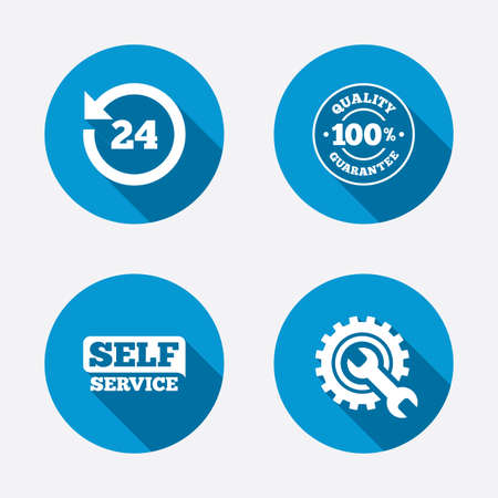 Repair fix tool icons. 24h Customer support service signs. 100% quality guarantee symbol. Cogwheel gear with wrench key. Circle concept web buttons. Vector Vectores