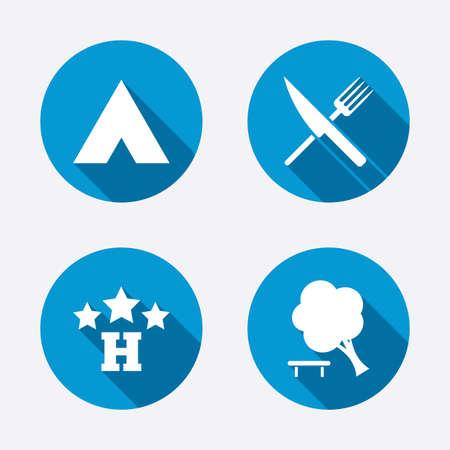 fourchette  route: Alimentation, h�tel, camping et tentes arbres ic�nes. Couteau et une fourchette. D�composer arbre. Les panneaux de signalisation. Cercle boutons notion web. Vecteur