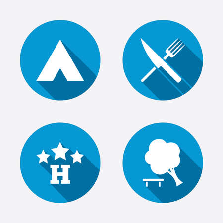 break down: Food, hotel, camping tent and tree icons. Knife and fork. Break down tree. Road signs. Circle concept web buttons. Vector Illustration