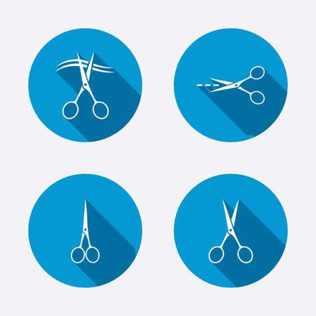 hair cut: Scissors icons. Hairdresser or barbershop symbol. Scissors cut hair. Cut dash dotted line. Tailor symbol. Circle concept web buttons. Vector