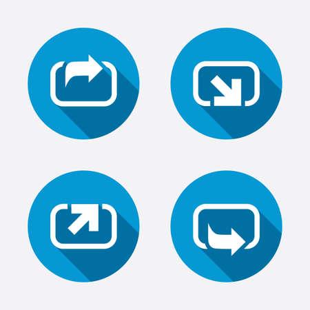 forward arrow: Action icons. Share symbols. Send forward arrow signs. Circle concept web buttons. Vector