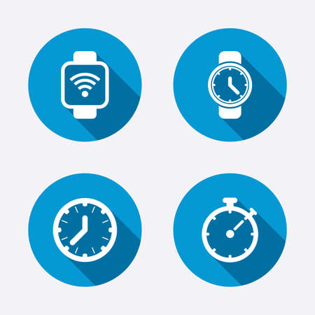 mechanical symbols: Smart watch wi-fi icons. Mechanical clock time, Stopwatch timer symbols. Wrist digital watch sign. Circle concept web buttons. Vector Illustration