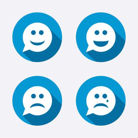 ojos llorando: Con forma de burbuja iconos cara de la sonrisa. Feliz, triste, llorar signos. Feliz símbolo de chat sonriente. La tristeza y la depresión signos de llanto. Botones concepto de web de círculo. Vector