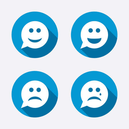 Speech bubble smile face icons. Happy, sad, cry signs. Happy smiley chat symbol. Sadness depression and crying signs. Circle concept web buttons. Vector