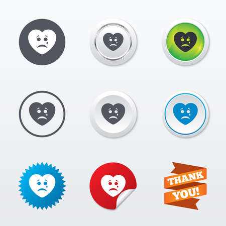 sad heart: Sad heart face with tear sign icon. Crying chat symbol. Circle concept buttons. Metal edging. Star and label sticker. Vector Illustration