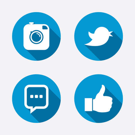 Hipster photo camera icon. Like and Chat speech bubble sign. Hand thumb up. Bird twitter symbol. Circle concept web buttons. Vector