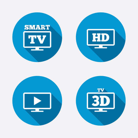 3d mode: Smart TV mode icon. Widescreen symbol. High-definition resolution. 3D Television sign. Circle concept web buttons. Vector Illustration