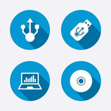 Usb flash drive icons. Notebook or Laptop pc symbols. CD or DVD sign. Compact disc. Circle concept web buttons. Vector