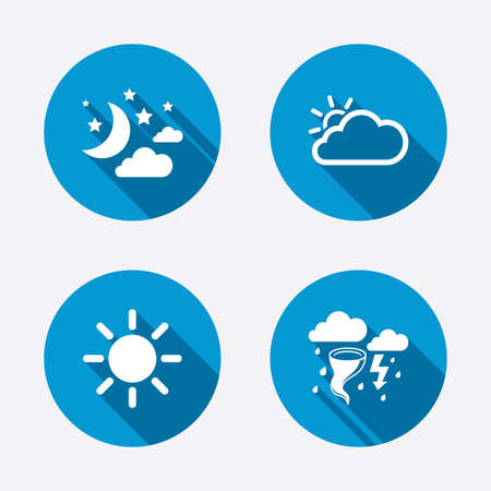 Weather icons. Moon and stars night. Cloud and sun signs. Storm or thunderstorm with lightning symbol. Circle concept web buttons. Vector Vector