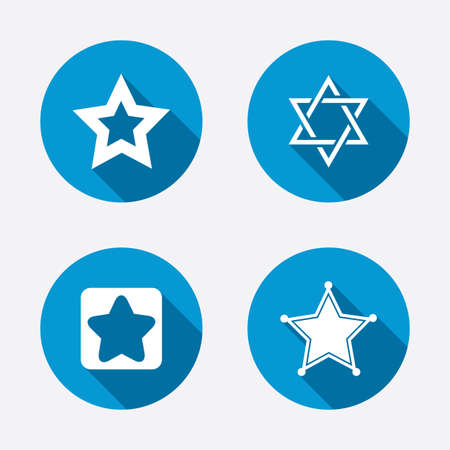 zion: Star of David icons. Sheriff police sign. Symbol of Israel. Circle concept web buttons. Vector Illustration