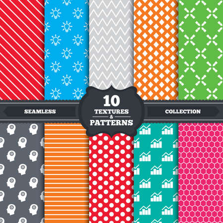 Seamless patterns and textures. Lamp idea and head with gear icons. Graph chart diagram sign. Teamwork symbol. Endless backgrounds with circles, lines and geometric elements. Vector Vector