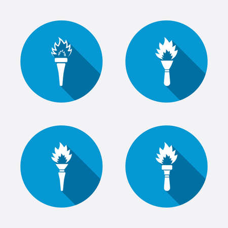 torch light: Torch flame icons. Fire flaming symbols. Hand tool which provides light or heat. Circle concept web buttons. Vector