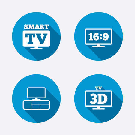 3d mode: Smart TV mode icon. Aspect ratio 16:9 widescreen symbol. 3D Television and TV table signs. Circle concept web buttons. Vector Illustration