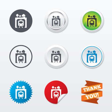 underground: Underground sign icon. Metro train symbol. Circle concept buttons. Metal edging. Star and label sticker. Vector