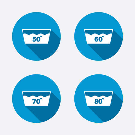 washhouse: Wash icons. Machine washable at 50, 60, 70 and 80 degrees symbols. Laundry washhouse signs. Circle concept web buttons. Vector