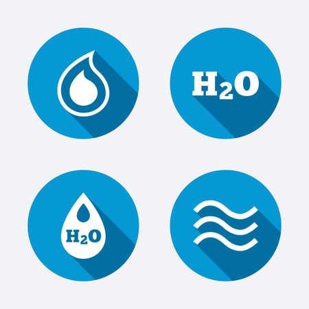 H2O Water drop icons. Tear or Oil drop symbols. Circle concept web buttons. Vector Vector