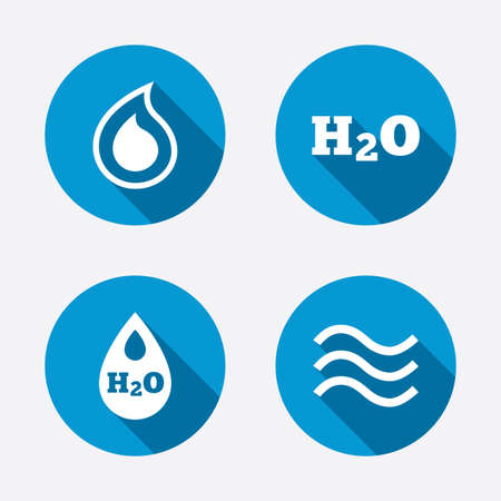 petroleum blue: H2O Water drop icons. Tear or Oil drop symbols. Circle concept web buttons. Vector Illustration