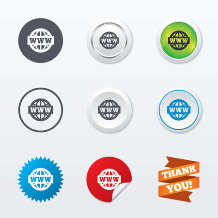 www at sign: WWW sign icon. World wide web symbol. Globe. Circle concept buttons. Metal edging. Star and label sticker. Vector