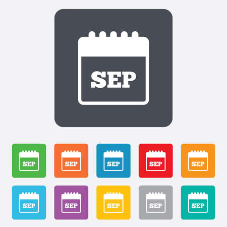 sep: Calendar sign icon. September month symbol. Rounded squares 11 buttons. Vector