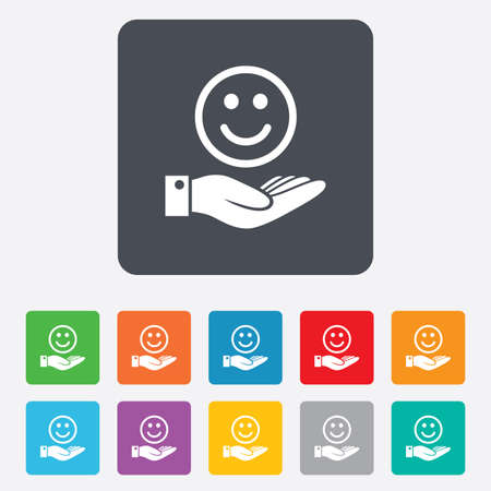 rounded squares: Smile and hand sign icon. Palm holds happy face symbol. Rounded squares 11 buttons. Vector