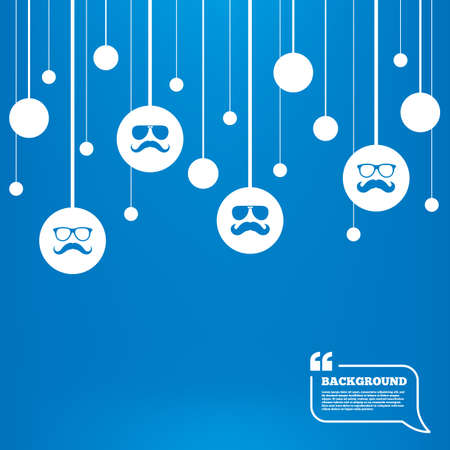 facial hair: Circles background with lines. Mustache and Glasses icons. Hipster symbols. Facial hair signs. Icons tags hanged on the ropes. Vector