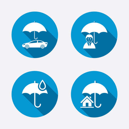 protection concept: Life, Real estate or Home insurance icons. Umbrella with water drop symbol. Car protection sign. Circle concept web buttons. Vector Illustration