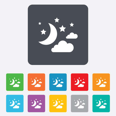 bed time: Moon, clouds and stars icon. Sleep dreams symbol. Night or bed time sign. Rounded squares 11 buttons. Vector
