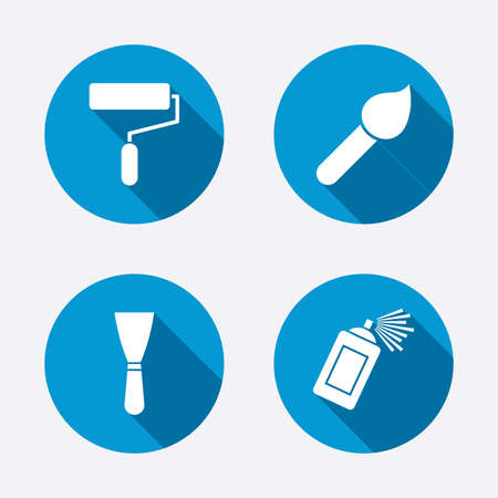 blue paintroller: Paint roller, brush icons. Spray can and Spatula signs. Wall repair tool and painting symbol. Circle concept web buttons. Vector Illustration