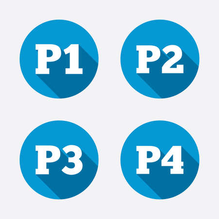 Car parking icons. First, second, third and four floor signs. P1, P2, P3 and P4 symbols. Circle concept web buttons. Vector
